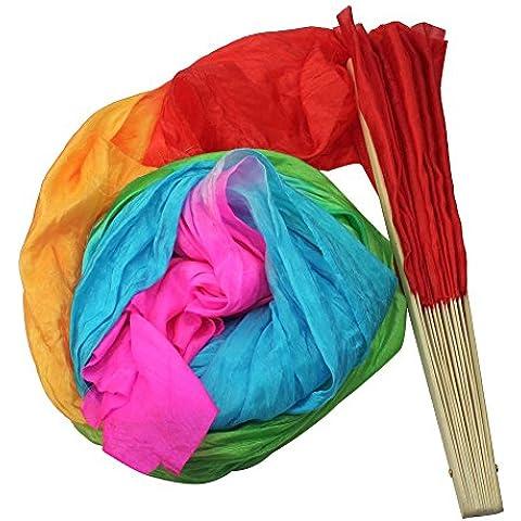 SODIAL (R) Nueva 1.8M Hecho a mano del vientre Danza Bailar Seda Bambu Los Aficionados Largos Velos Arte