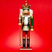 SIKORA Serie B aufwändig gestaltete Deko Nussknacker Figur aus Holz , Farbe / Modell:B01 grün/rot - KÖNIG;Größe:Höhe ca. 36 cm