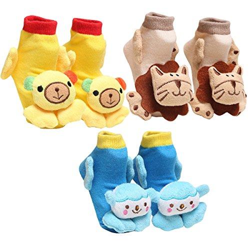 HAPPY CHERRY 3 Pares Niños Calcetines, Booties de Bebé, 3D Dibujos Animados de Animales Zapatos 0-6 Meses Color Aleatorio