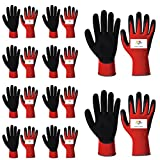 SAFEYURA® Industrial Safety Nylon Anti Cut - Resistant Hand Gloves (10 Pair) -RED-Black