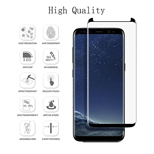 Samsung Galaxy S8 5.8 Inch Black Premium Case Friendly 3D Tempered Glass Screen Protector