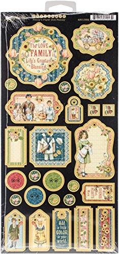 Graphic 45Penny 's Puppe Familie Spanplatte, Papier, mehrfarbig, 31,5x 15,3x 0,1cm Vintage-papier-puppen