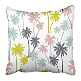 TEPEED Throw Pillow Covers Print Beach of Palm Trees Pattern with Tropical Hawaii Summer Outdoor Retro Coconut Coco Branch Polyester 18 X 18 inch Square Hidden Zipper Decorative Pillowcase