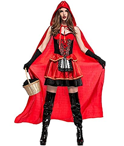 Honeystore Damen's Halloween Kostüm Damenkostüm böse Rotkäppchen Kostüm Fasching Karneval Damenkostüm Karneval Kostüme Damen Cosplay Kleid mit Umhang XL