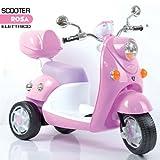 Bakaji Moto Scooter Elettrico Ricaricabile Vespina Vintage per Bambini 6V colore Rosa