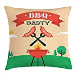BaozjX BBQ Party Throw Pillow Cushion Cover, Sausages on Open Flame Outdoor Activities Pattern Natural Landscape Backdrop, Decorative Square Accent Pillow Case, 18 X 18 inches, Multicolor
