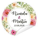 Aufkleber 'Blooming Love' 24 Stück (4 cm) personalisiert Hochzeit Gastgeschenke Vintage Blumen
