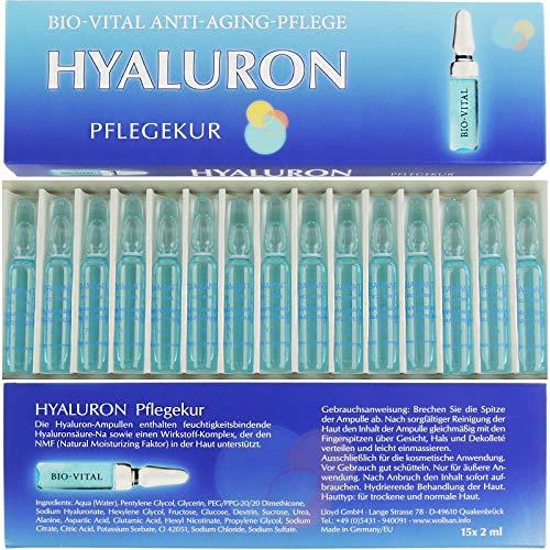 Hyaluron Bio Vital Anti Aging Pflegekur 15 Ampullen á 2 ml Hyaluronsäure hochkonzentriert gegen Falten Made in Germany