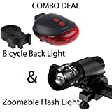 Lista COMBO PACK of 5 LED Laser Tail Light and Zoomable Mode Bicycle Headlight LED Flashlight /Front Bicycle Bike Light Lamp Mount Torch + Holder Clip Mount