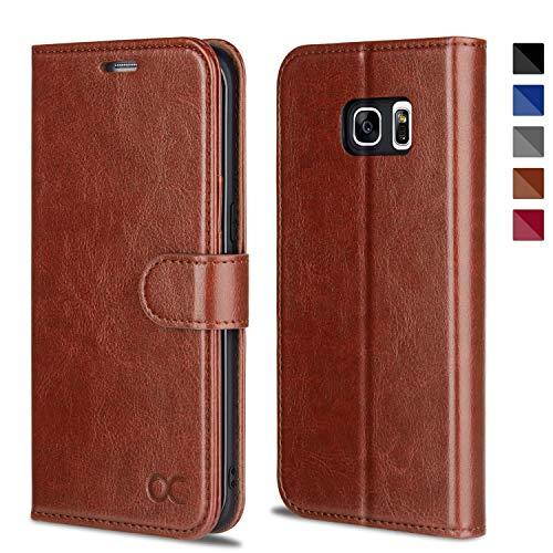 OCASE Samsung Galaxy S7 Edge Hülle Handyhülle [Magnetverschluss][ Premium Leder ][ Standfunktion ][ Kartenfach ] Brieftasche Klappetui Schutzhülle kompatibel für Samsung Galaxy S7 Edge Cover Braun