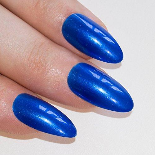 Bling Art Stilett Falsche Nägel Acryl Blau Lagoon Mittel Tipps (Nägel Blau Gefälschte)