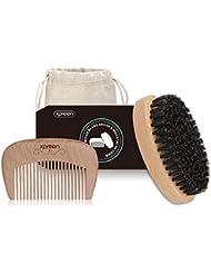 Brosse à Barbe&Peigne Barbe Kit, Xpreen peigne en bois travaillé à la main et la brosse en soie de porc 100% naturel pour le soin de la barbe et des moustaches