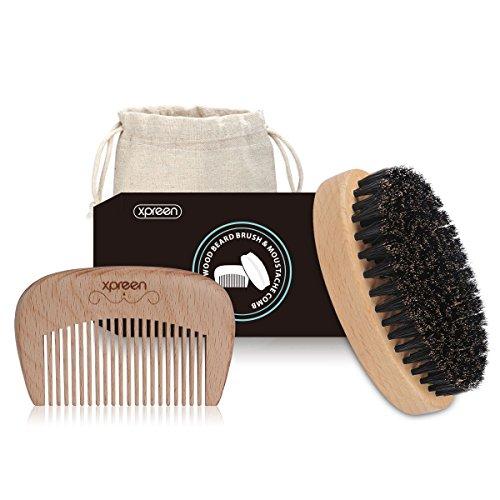 Bartbürste&Bartkamm Set, Xpreen Bart Ovaler Pinsel und Bart Kamm Premium handgefertigten HolzKamm und 100% natürlichen Borstenbürste für Männer Bart & Schnurrbart Pflege (Haar-pinsel-set Männer)