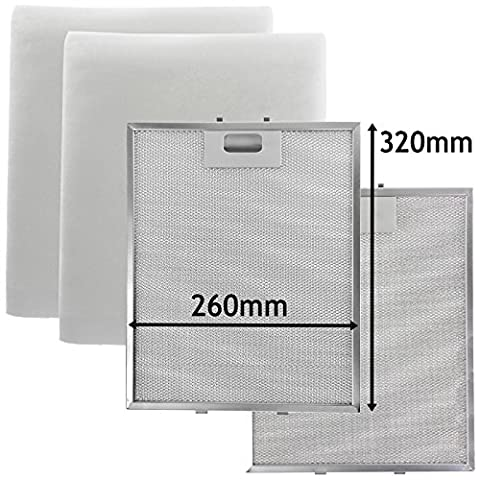 Spares2go universel en maille en métal argenté + filtres à graisse pour toutes les marques du hotte/extracteur d'aération (320x