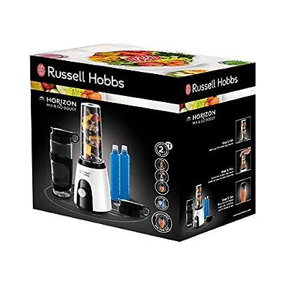 Russell-Hobbs-25161-56-Smoothie-Maker-Mix-Go-Boost-Horizon-inkl-2-Tritan-Behlter-mit-Deckel-und-Klakkus-23000-Umin-400-W-weissschwarz