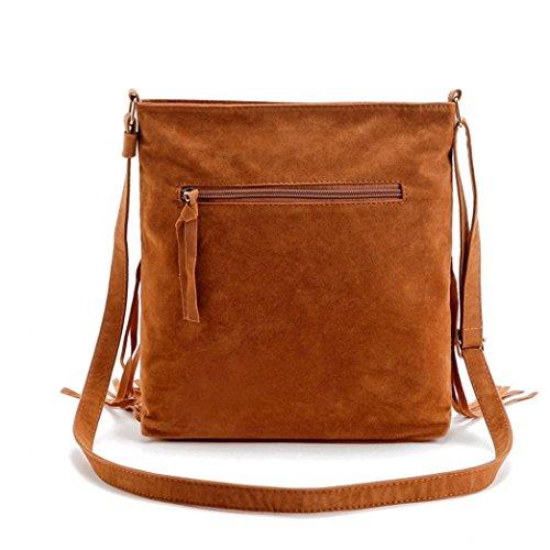 Koly_messenger bag borsa tote della spalla della borsa delle donne Marrone