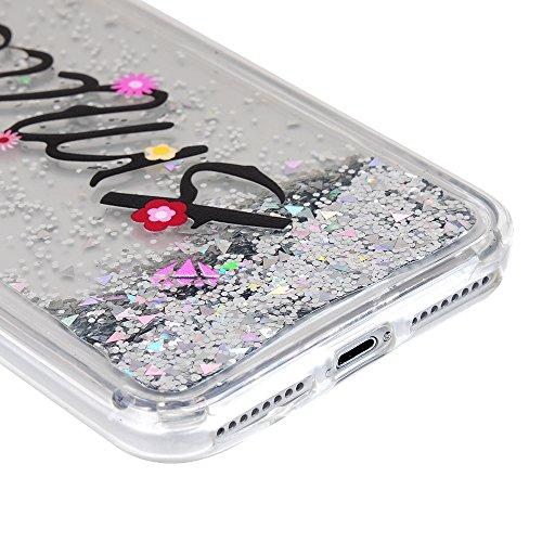 iPhone 7 Plus Glitzern Treibsand Case,iPhone 7 Plus Silikonhülle YOKIRIN Bling TPU Silikon Schutzhülle Handytasche Slim Fit Handyhülle Soft Painted Etui Backcover Schale-Der Eiffelturm Blumen Englisch