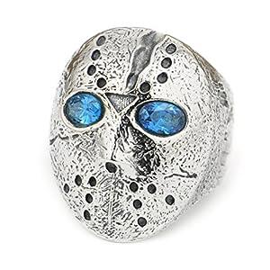 linsion 925Sterling Silber Halloween Jason Maske CZ Stein Augen Herren Biker Ring 9d404