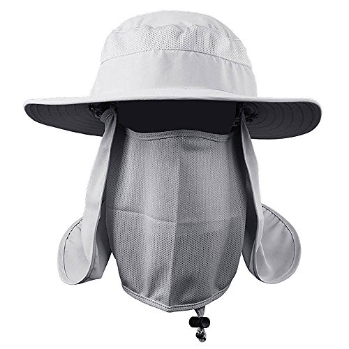 GLQ Wandern Angeln Hat, Outdoor UV Sun Schutz Breite Krempe Angeln Cap - Männer und Frauen Face Cover Sommer herausnehmbare Mesh Nacken Face Gärtner Hat, für Safari Dejeuner Jagd Camping -