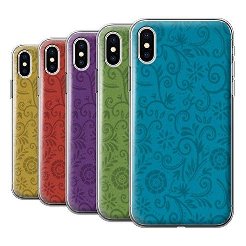 Stuff4 Gel TPU Hülle / Case für Apple iPhone X/10 / Gelbe Blume Muster / Floral Strudel-Muster Kollektion Pack (5 Pcs)