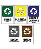 Pack di 5 Cartelli adesivi 20x30 cm raccolta differenziata per rifiuti - Carta, Secco, Umido, Vetro, Plastica - Kamiustore