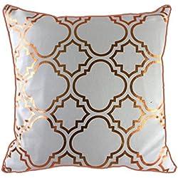 Moroccanity 43x43cm metálico Dorado Laminado marroquí Quatrefoil Azulejos Vintage Aspecto Funda de cojín, poliéster algodón, White Rose Gold, 43 x 43 Centimeters