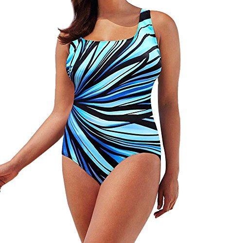 LHWY Badeanzug Damen, Elegant Womens Schwimmen Kostüm Jumpsuit Padded Badeanzug Monokini Bademode Push Up Bikini Sets Reflektierende Streifen Muster Halo Overall Sommer (3XL, A) (Gepolsterte Cup Schwimmen Kostüm)