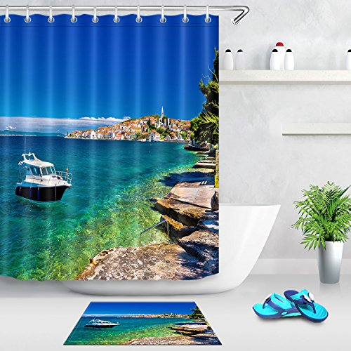 LB Meer Ozean Landschaft Duschvorhang-Set Anti-Rutsch-Badematte,Wasserdicht Schimmelresistent Polyester Fabrik Badvorhänge für Badezimmer,180 * 180cm mit 12 - Duschvorhang-sets Meer