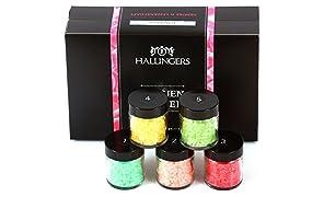 Hallingers Badesalz Mix Frauen-Power, z.B. für Muttertag, Vatertag, Valentinstag | Set/Mix | 5x Miniglas in MiniDeluxe-Box | 175g