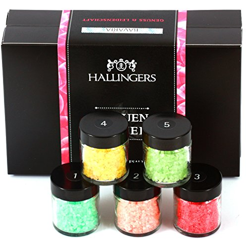 Hallingers Badesalz Mix Frauen-Power, z.B. für Muttertag, Vatertag, Valentinstag | Set/Mix | 5x Miniglas in MiniDeluxe-Box | 175g