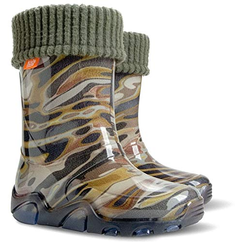 DEMA Boys Kids Fleece-Lined Wellington Boots Wellies Khaki New