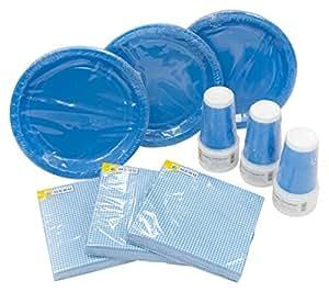 HEKU 30005 Set di stoviglie monouso per feste, con piatti, bicchieri e tovaglioli, 120 pezzi, Plastica, turchese, 40x29x7 cm