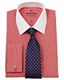 Savile Row Men's Red White Bengal Classic Fit Shirt 16