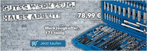 KFZ Werkzeugkoffer 171-tlg. Ratschenkasten, Steckschlüssel-Satz 1/4' + 3/8' + 1/2'