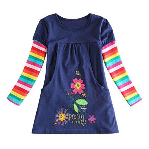 Kinder Baby Mädchen Kleider Longra Mädchen Blumen Langarm Baumwolle Kleid Kinder T-Shirt Kleid Frühlings Babykleidung Kinderkleidung Festliche Kinderkleider Mädchenkleider (Navy, 110CM 3Jahre)