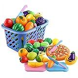 OviTop 29er Set Einkaufskorb Kinder Obst und Gemüse zum Schneiden Rollenspiel Kinderküchen Spielzeug Zubehör Frühkindliche Bildung