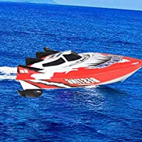 SDYDAY RC Boat, Remote Control Boat, High Speed RC Racing Boats, Waterproof Indoor Outdoor Toys Boats for Kids/Adults, Battery Powerd Boats for Pools and Lakes (Red And White)