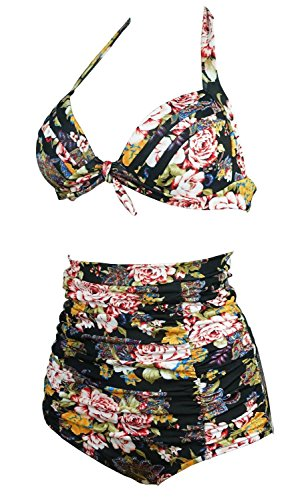 Gigileer 50's Rockabilly Damen Frauen Bademode Bikini Swimsuit High Waisted - Bauchweg - Plus Size Schwarz XXL -