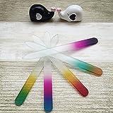 Prochive Lot de 4Professional Beauty Verre de Cristal Limes à ongles Art Manucure et pédicure pour Naturel et ongles en acrylique Ensemble de soins (Arc-en-ciel de couleurs)