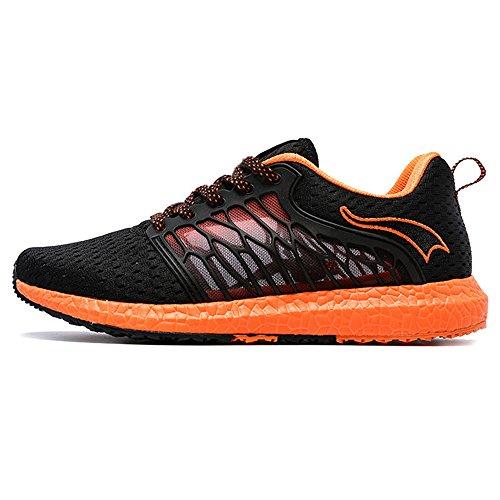 Onemix Uomini Tuta Palestra scarpe da corsa Fitness Trainer Light Nero / arancione