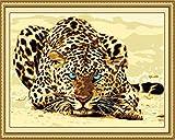 zum Basteln, Malen nach Zahlen für Erwachsene Anfänger, 16x 20cm, Leopard, mit Pinsel, Weihnachten, Dekorationen, Geschenke Frame