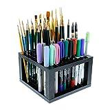 Magic Show negro plástico lápiz y cepillo soporte de escritorio organizador de 96agujeros para bolígrafos, marcador de pintura de pincel, lápices de colores, soporte...
