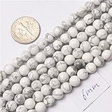 SHG store 6mm Kugel Edelstein-Weiß Howlith Perlen Strang 15 Zoll Schmuckherstellung Perlen