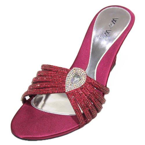 Wear & Walk UK , Damen Sandalen gold/maroon/pink/silver Kastanienbraun