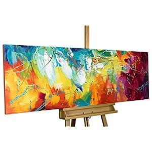 KunstLoft® Acryl Gemälde 'Bright Future' 150x50cm | handgemalte Leinwand Bilder XXL | Abstrakte Kunst Pink Gelb Blau Regenbogen Küche Schlafzimmer | Wandbild Acrylbild einteilig mit Rahmen