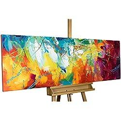 KunstLoft® Acryl Gemälde 'Bright Future' 150x50cm | original handgemalte Leinwand Bilder XXL | Abstrakte Kunst in Pink Gelb Blau Regenbogen | Wandbild Acrylbild moderne Kunst einteilig mit Rahmen