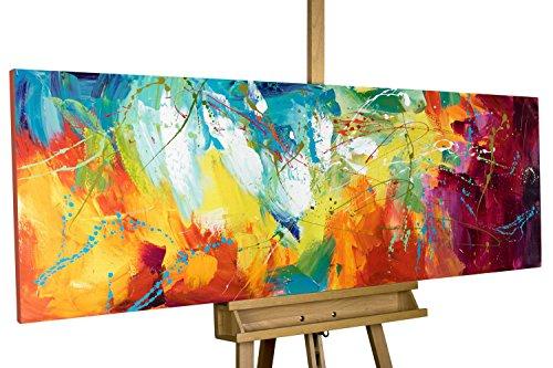 KunstLoft® Acryl Gemälde \'Bright Future\' 150x50cm | original handgemalte Leinwand Bilder XXL | Abstrakte Kunst in Pink Gelb Blau Regenbogen | Wandbild Acrylbild moderne Kunst einteilig mit Rahmen