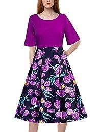 Vestido De Retazos Con Estampado De Floral Mujer LHWY, Vestido De Fiesta Vintage Cuello Redondo