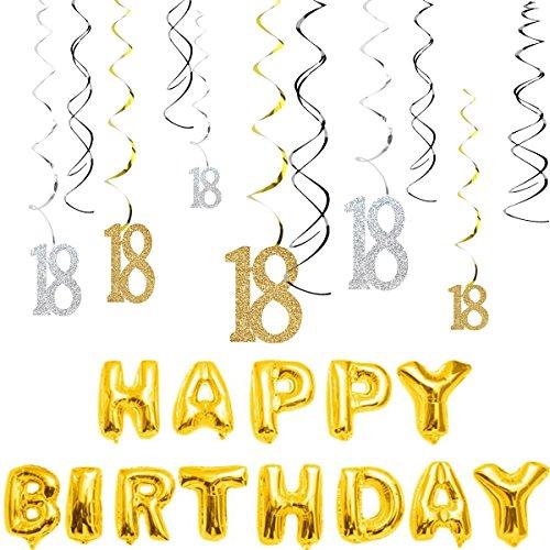 magjuche 18. Geburtstag Dekorationen kit-gold Silber Glitzer Happy 18Jahre alt Geburtstag Banner & Sparkling Celebration Aufhängen wirbelt, Party Supplies (Jahr Ein Alt Party-themen Geburtstag)