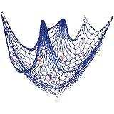 ezakka estilo mediterráneo náutico decorativo Red de pesca con conchas de mar decoración del hogar, azul